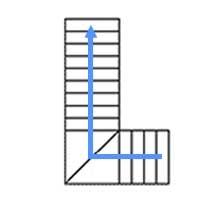 Каркас с 2 забежными  ступенями, разворот на 90°