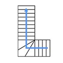 Каркас с 3 забежными  ступенями, разворот на 90°