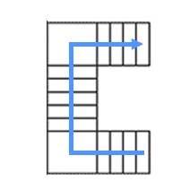 Каркас: 2 площадки, с 3 маршами, разворот на 90°