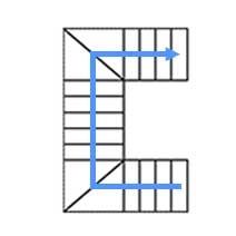 Каркас с 4 забежными  ступенями, разворот на 90°