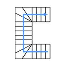 Каркас с 6 забежными  ступенями, разворот на 180°